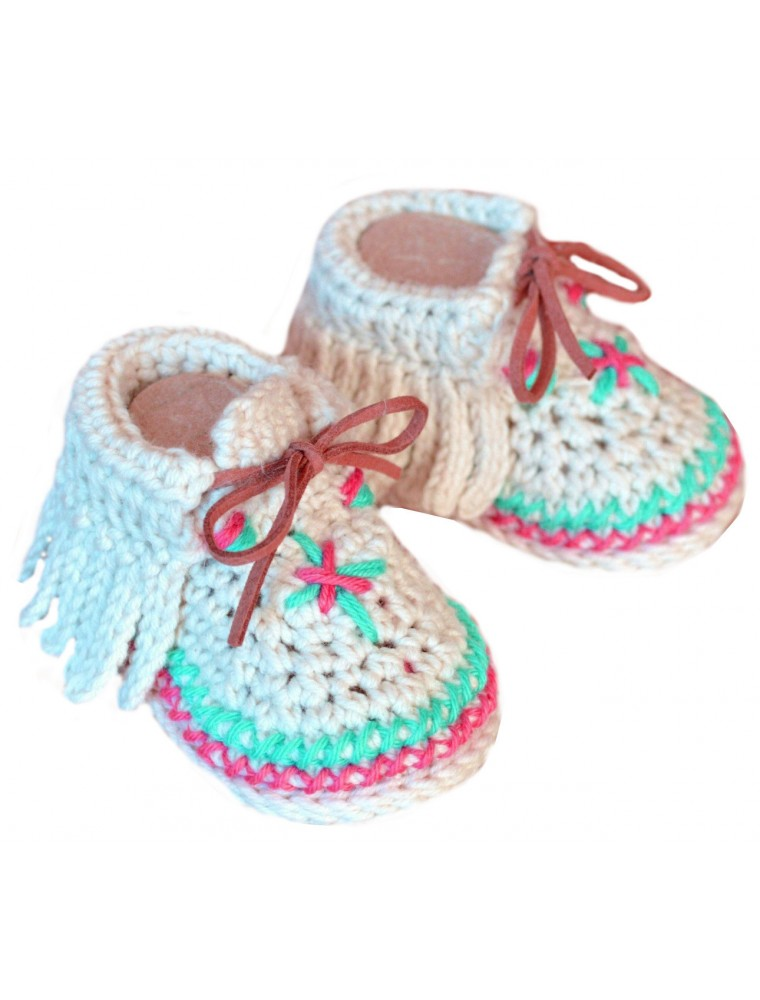 a27ca668e681 ChoosePick Baby Crochet Handmade Cream Red Fabric Safety Shoes Price ...