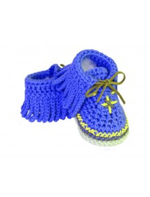 ChoosePick Baby Crochet Handmade Blue Fabric Safety Shoes