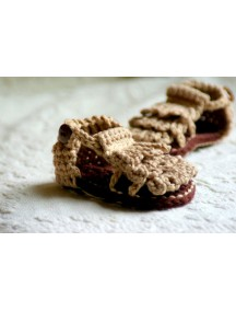 ChoosePick Baby Crochet Handmade Brown Fabric Fashion Sandals