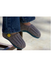 ChoosePick Baby Crochet Handmade Brown Fabric Clogs & Mules