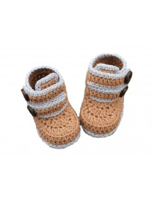 ChoosePick Baby Crochet Handmade Brown ,Gray Fabric Boots