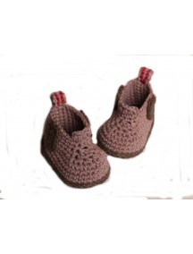 ChoosePick Baby Crochet Handmade Brown Fabric Boots
