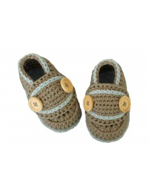 ChoosePick Baby Crochet Handmade Brown Fabric loafer