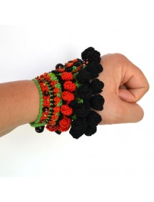 Crochet Handmade Bracelet Black Red Green