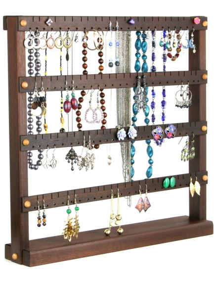 Wooden Cherry Earring and Necklace Holder - Walnut