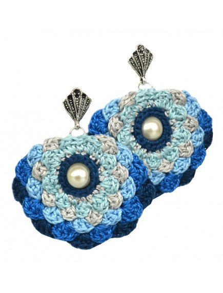 ChoosePick Crochet Handmade Multi Color Fabric Pom Pom Earring for Women