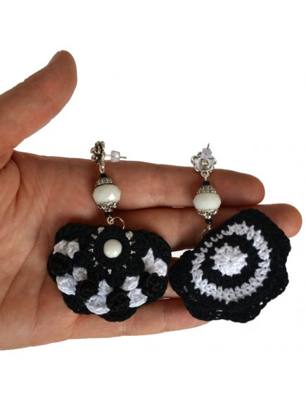 ChoosePick Crochet Handmade Black White Fabric Pom Pom Earring for Women