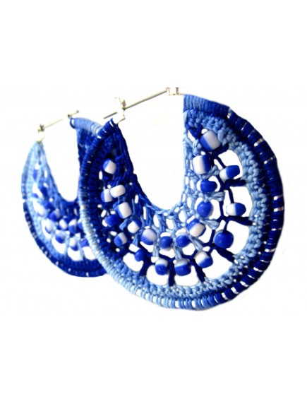ChoosePick Crochet Handmade Dark Blue Light Blue Fabric Round Hoops Earring for Women