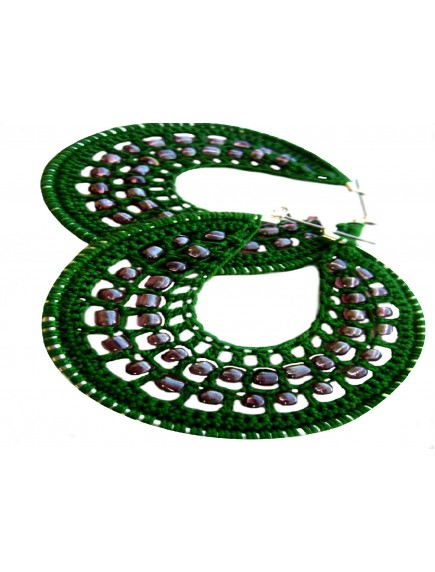 ChoosePick Crochet Handmade Green Fabric Round Hoops Earring for Women