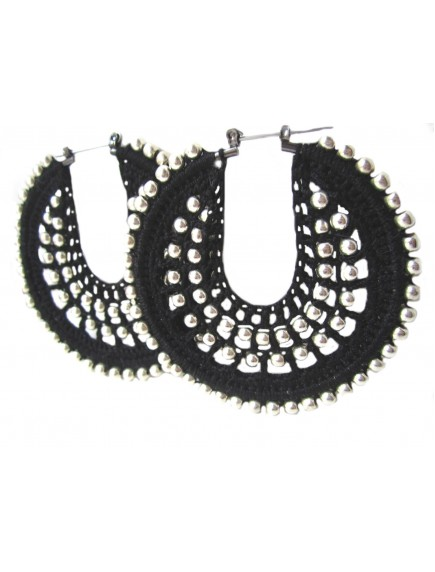 ChoosePick Crochet Handmade Black Fabric Round Hoops Earring for Women