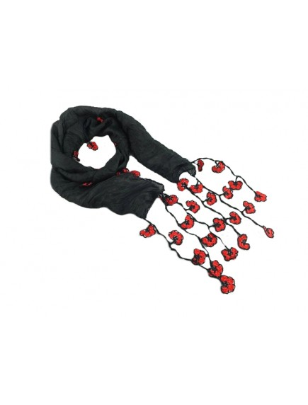 ChoosePick Crochet Handmade Black Red Necklace Scarfs Silk Scarflette/Dupatta for Women