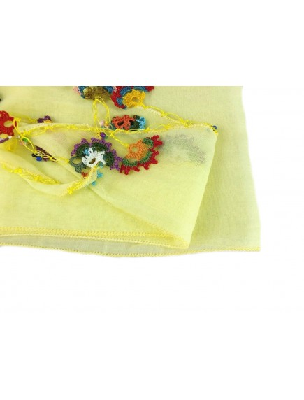 ChoosePick Crochet Handmade Yellow Necklace Scarfs Silk Scarflette/Dupatta for Women