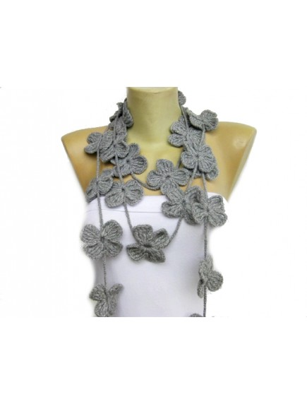 ChoosePick Crochet Handmade Grey Necklace Scarfs Silk Scarflette/Dupatta for Women
