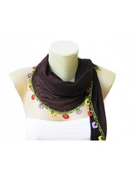 ChoosePick Crochet Handmade Black Necklace Scarfs Silk Scarflette/Dupatta for Women