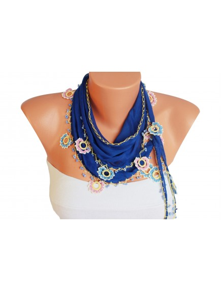 ChoosePick Crochet Handmade Navy Blue Necklace Scarfs Silk Scarflette/Dupatta for Women