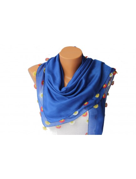 ChoosePick Crochet Handmade Blue Necklace Scarfs Silk  Scarflette/Dupatta for Women