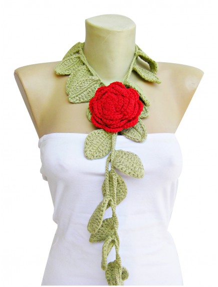 ChoosePick Crochet Handmade Light Green Red Necklace Scarfs Wool  Scarflette/Dupatta for Women